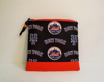 New York Mets Baseball , Zippered Pouch, Makeup Bag, Gadget Bag, Clutch Bag, Cosmetic Case