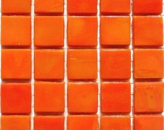 "15mm (3/5"") Orange Opaque Glass Mosaic Tiles// Orange Glass Mosaic Tiles// Tangerine Orange Mosaic Glass Tiles"