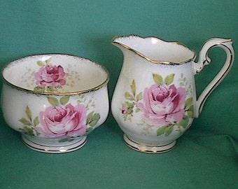 Royal Albert creamer and sugar  bone china roses