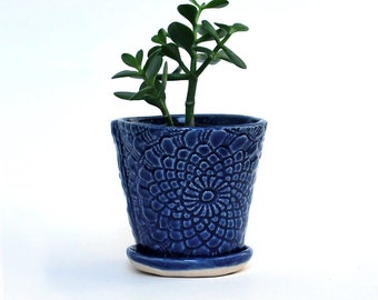 Planter - Blue Lace - with Saucer - Succulent Planter, Indoor Planter, Ceramic, Pottery - Lauren Sumner Pottery