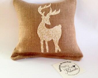 Balsam Fir Sachet with Gingerbread Color Linen and Gold Accent Tan Deer Applique, Maine Balsam Fir Pillow