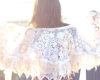 Shabby chic cotton silk beaded lace wedding wrap, boho  recycled tea dyed vintage lace collar,  silk lace capelet mini wrap,