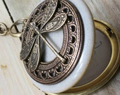 Dragonfly Locket Necklace - Vintage Antique brass Ornately Decorated Pendant Jewelry