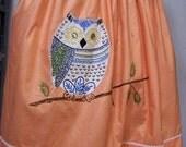 Valentines SALE Charming Orange Owl Apron, Embroidered, Peachy/Orange
