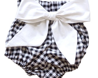 High Waist Bloomer | Black Gingham with White Bow | Sizes Newborn to 24 Months | Baby Girl, Newborn Photo Prop, Diaper Cover