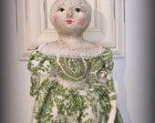 Pumpkin girl cloth and clay doll OOAK art doll Halloween folk art