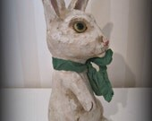 Rabbit doll papier mache folk art doll OOAK