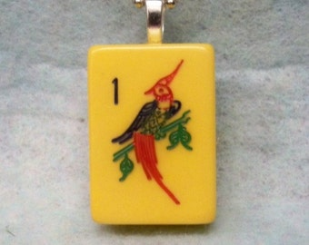 Mahjong Tile Pendant Necklace ~ Oriental  Bird ~ Original 1940's Bakelite Mahjong Tile 24 Inch Ball Chain Necklace