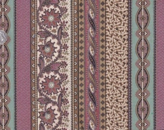 "Shades Of Brown ~ Hint Of Black &  Aqua Srtipe Cotton  Fabric 14"" x 42"" Remnant 4 Quilting ~ Basic Scrap Art Piecing ~ # A 65"