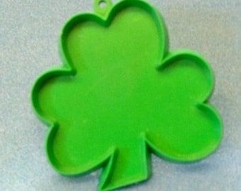 3 Inch Shamrock Cookie Cutter ~ Original Green Plastic Silhouette ~ 3 Leaf Clover ~ Vintage 1986 Hallmark Cookie Cutter  - Irish Theme