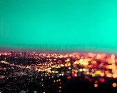 Surreal Los Angeles Prints, Teal Gold Wall Art, Green Los Angeles Skyline Photo City at Night, City Photography Large Wall Art