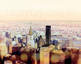 New York City Print, Manhattan Skyline, Chrysler Building, Gold, Yellow, NYC Skyline, New York Photography