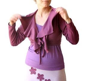Long sleeve shrug with ruffles, Jersey shrug, Short jacket, Womens clothing, Womens jacket in fuchsia, Womens plus size clothing, Plus size
