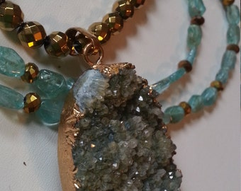 Aqua and Gold beautiful necklace natural stone geode
