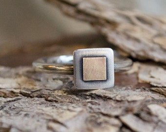 Square ring, Mixed Metals Ring, tiny square ring, two tones ring, delicate ring, simple ring, stacking ring, dainty ring - Must know R1382B