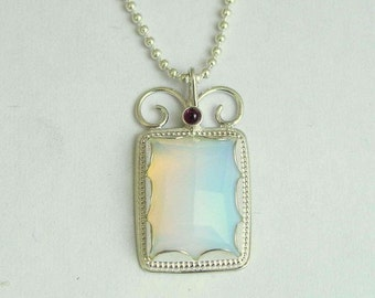 Opalite Necklace, gemstone necklace, Sterling silver pendant, bridal necklace, opalite and tiny garnet stones - Once upon a time. N8837