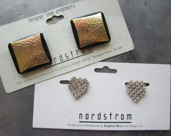 Vintage Nordstrom Designer Shoe Clips Set of 2 Pairs Rhinestones & Metallic