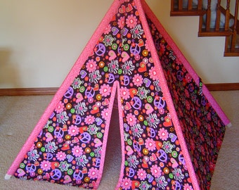 Child's Play Teepee - Hot Pink Flowers Purple Peace Signs on Black - Wooden Poles Included (Free Shipping)