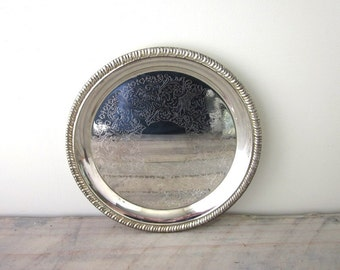 Vintage Small Round Silver Plate Tray