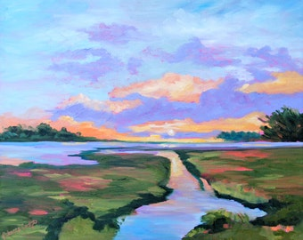 PRINT - Many Sizes - Modern Impressionist Print of an Original Oil Landscape South Carolina Marsh Painting by Rebecca Croft