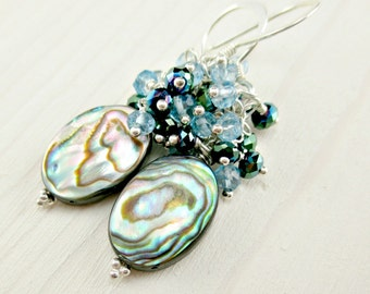 Abalone Cluster Earrings, Paua Shell Earrings, Sterling Silver, Blue Quartz Colorful Silver Earrings Wire Wrapped Dangle Abalone Jewelry