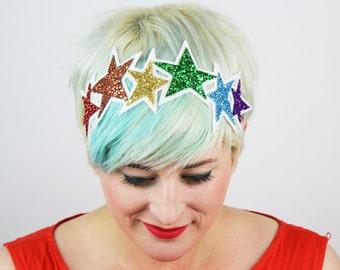 Glitter Rainbow Stars Headband