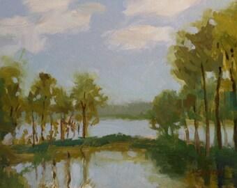 One of a Kind_Original Oil Painting_Gold Leaf Wood Frame_ Landscape_ Pochade Box Painting_Alla Prima Study_En Plein Air
