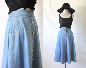 S A L E denim midi skirt / button down