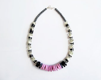 Resin Statement Necklace, Pink Gray Necklace, Modern Polymer Clay Necklace, Beaded Necklace