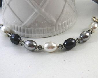 Black Gray and White Pearl Bracelet Handmade, Pearl and Crystal Bracelet, Chunky Pearl Bracelet