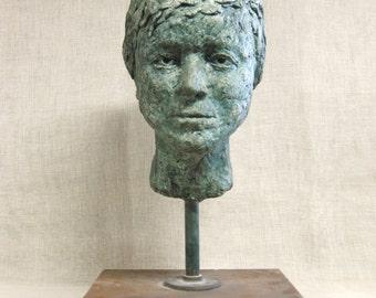 Large Vintage Male Bust, Female, Handmade, Sculpture, Human Head, Human Figure, Very Large, Verdigris, Art, Head