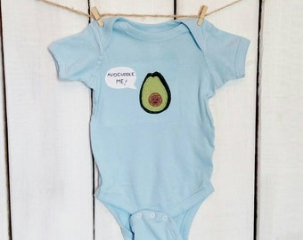 "Baby ""Let's Avo-Cuddle"" or ""Avo-Cuddle Me!"" Avocado baby bodysuit, unique baby onesie, baby shower gift"