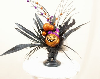Jack O Lantern Centerpiece, Halloween Decor, Black Skeleton Hand, Pumpkin Decor, Halloween Pumpkin, Black and Orange, Halloween Mantel