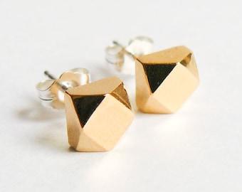 Gold Stud Earrings - Chunky Everyday Studs - Eco Friendly Faceted Earings - Faux Diamond Jewelry - Handmade in Brooklyn - by HookAndMatter