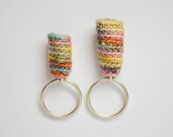 Variegated Fiber and Sterling Silver Cocktail Puffy Ring - Statement Rings - Mixed Media Jewelry - Fiber Art