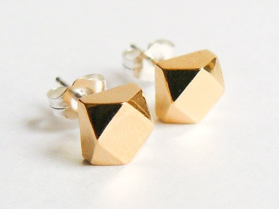 Gold Stud Earrings - Chunky Everyday Geometric Studs - Eco Friendly Faceted Earings - Faux Diamond Jewelry - by HookAndMatter
