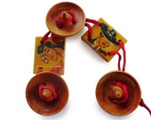 Vintage 1940s Painted Wood Mexican or Spanish Bracelet with Red Cord - Charms or Buttons - 3 Sombreros 1 Senorita and 1 Gentleman Gaucho