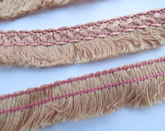 """1920's Antique Vintage French Pink SILK 7/8"""" Fringe Trim-by the yard"""