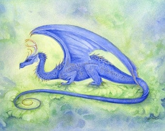 Dragon Art Print - Cobalt - fantasy. whimsical. blue. green. creature. wings.