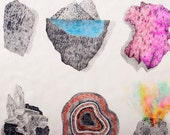 Crystal, Landscape, Original Pencil Illustration, Hanging Wall Sculpture, Air Dry Clay, Mixed Media,Ornament, Ceramic, Handmade Art, Seaside