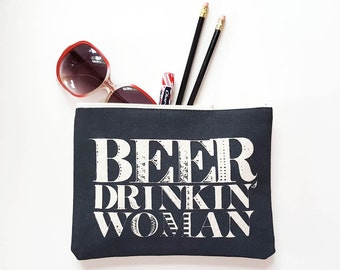 Beer Purse Cotton Zipper Pouch Zip Clutch Funny Southern Joke Women Brew Brewery Accessories Gift Made in Nashville Tennessee Wholesale