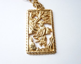 Vintage Napier Gold Chain Necklace with Asian Theme Pendant  32 Inch Gold Chain Signed 1970s