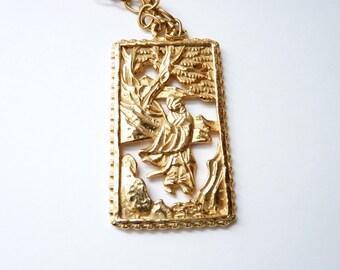 Vintage Napier Gold Asian Theme Pendant Necklace 32 Inch Chain Signed 1970s