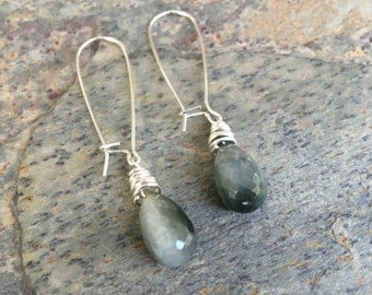 Sterling Silver and Cats Eyes Teardrop Beads. Handmade Jewelry for Charity. ES27