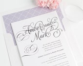 Charming Script Wedding Invitations - Purple, Lavender, Diamond Pattern - Fairytale, Whimsical, Script - Deposit to get Started