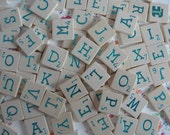 Vintage Scrabble Tiles - Blue Metallic - Lot of 105 pieces - Letters from 1 Game - Alphabet Letters for all sorts of Craft
