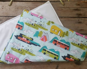Diaper Changing Pad - Camper print Play Mat -  Nappy Pad - Portable Diaper Changing Mat - Changing Pad - Portable Baby Changing Pad