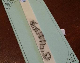 Scrimshaw Bookmark Seahorse OOAK Great Gift Idea