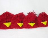 St. Louis Cardinals Baby Cap, Red Bird Crochet Cap MADE TO ORDER by Charlene, Cardinals Baseball Inspired, Infant Hat for Photo Prop