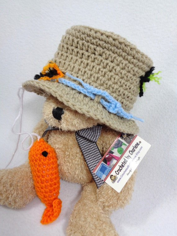 Baby fishing hat with fish tan infant cap with orange fish for Baby fishing hat